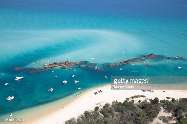 aerial view of shipwrecks - mandy pritty stock pictures, royalty-free photos & images