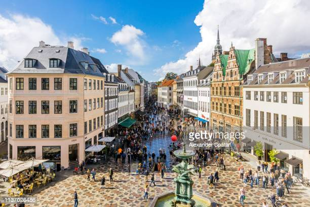 aerial view of shopping street and main city square in copenhagen old town, denmark - copenhagen stock pictures, royalty-free photos & images