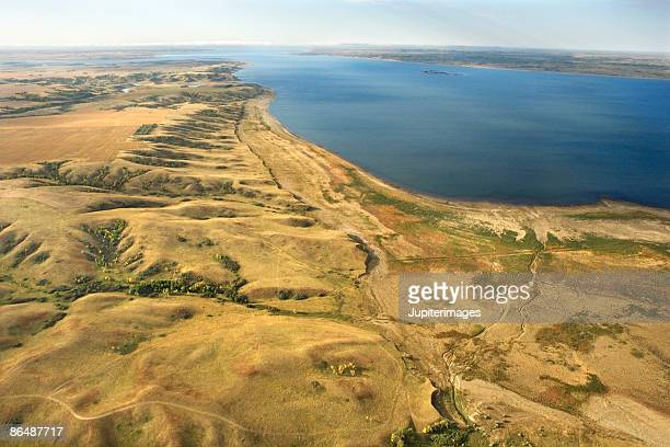 aerial view of shoreline of a lake, north dakota - great plains stock pictures, royalty-free photos & images
