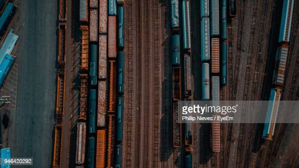 aerial view of shunting yard - shunting yard stock photos and pictures