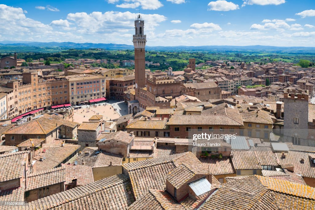 Aerial view of Siena in Tuscany, Italy : Stock Photo