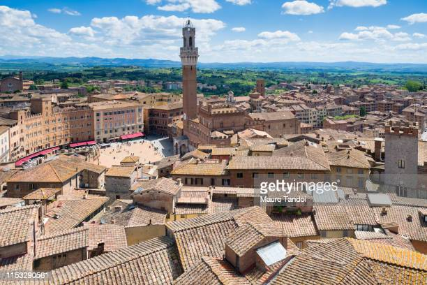 aerial view of siena in tuscany, italy - mauro tandoi stock pictures, royalty-free photos & images