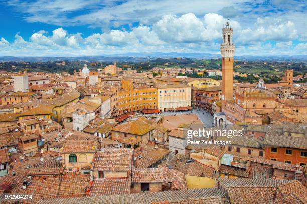 aerial view of siena in tuscany, italy - siena italy stock photos and pictures