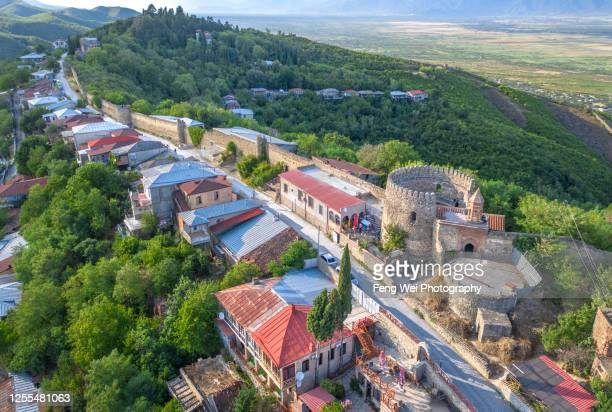 aerial view of sighnaghi, kakheti region, georgia - georgian culture stock pictures, royalty-free photos & images