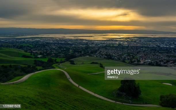 aerial view of silicon valley at sunset - fremont california stock pictures, royalty-free photos & images