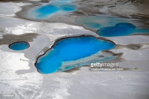 'Aerial view of silt and turquoise water in an Alaska glacier, Alaska'