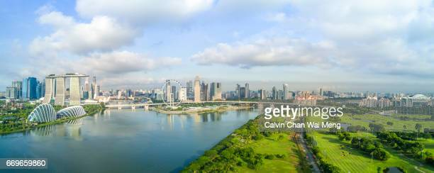 Aerial view of Singapore City Skyline and Marina Bay