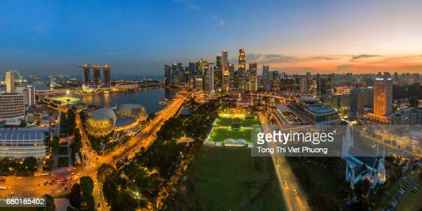 Aerial view of Singapore city skyline in sunset at Marina Bay, Singapore