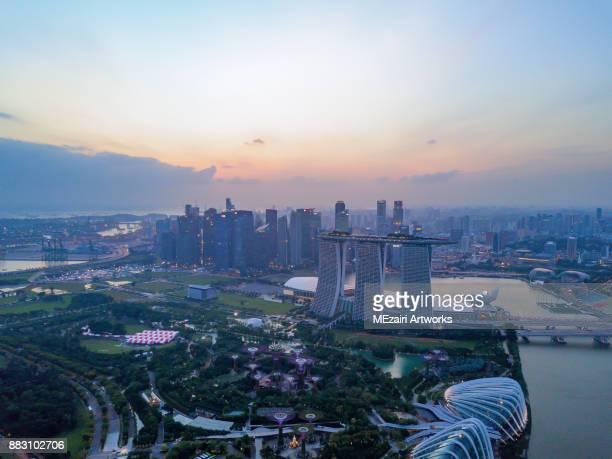Aerial view of Singapore Marina Bay city skyline
