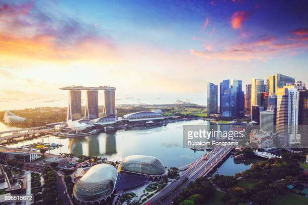 Aerial view of Singapore skyline business district and cityscape at twilight in Singapore, Asia.