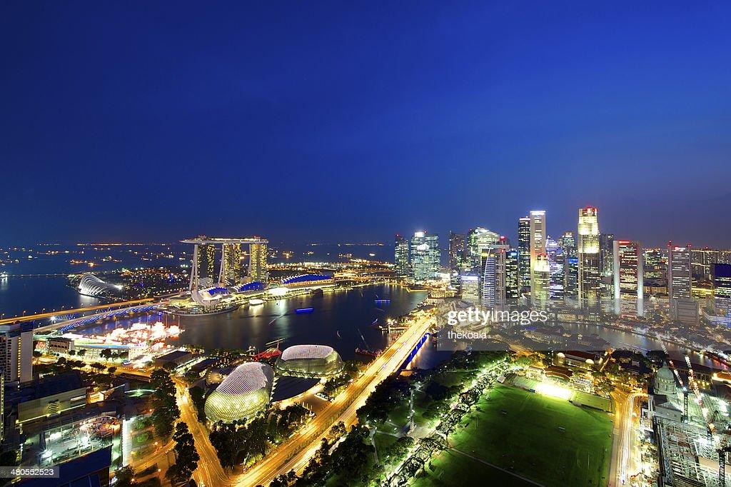 Vista aérea del horizonte de la ciudad de singapur : Foto de stock