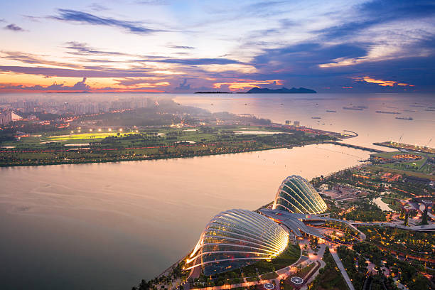 Aerial View Of Singapore With Sunset Wall Art