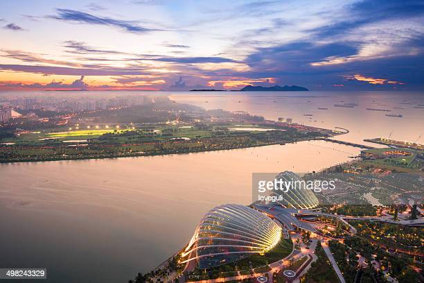aerial view of Singapore with sunset