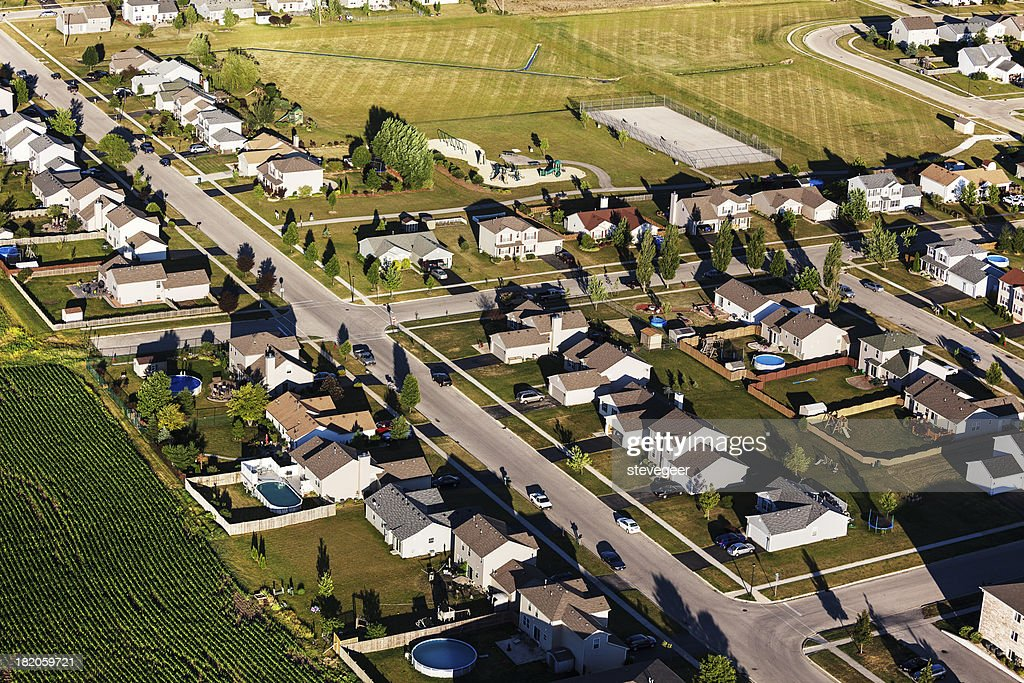 Aerial View of Single Family Homes in Northern Illinois : Stock Photo