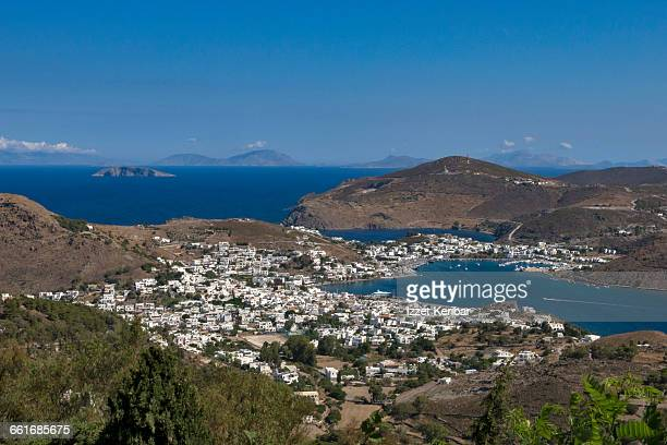 Aerial view of Skala,Patmos island ,Greece