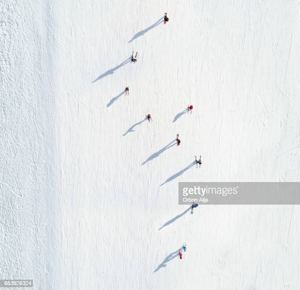 Aerial view of skiers