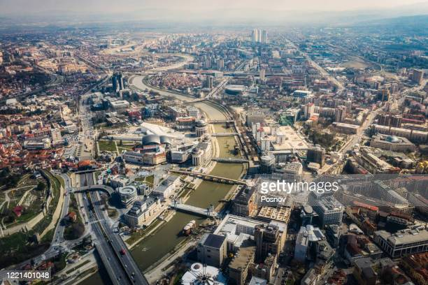 aerial view of skopje - skopje stock pictures, royalty-free photos & images