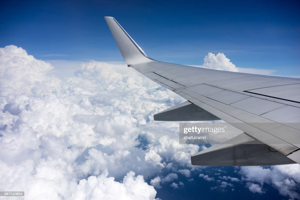 Aerial view of sky from aircraft window. : Stock Photo