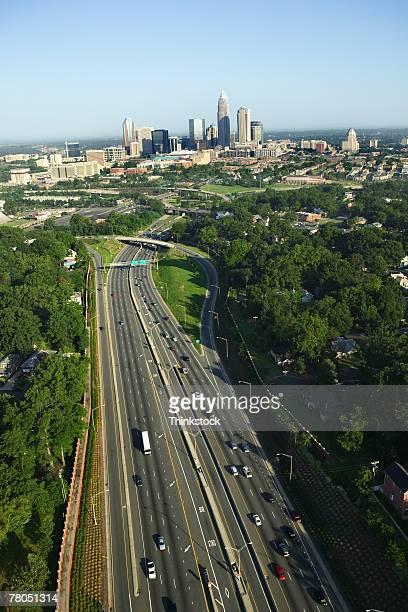 aerial view of skyline, charlotte, north carolina - thinkstock stock-fotos und bilder