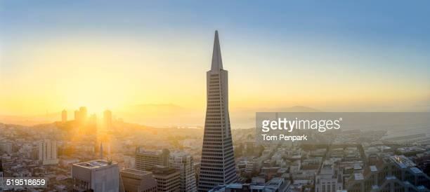 Aerial view of skyscraper in San Francisco city skyline, California, United States