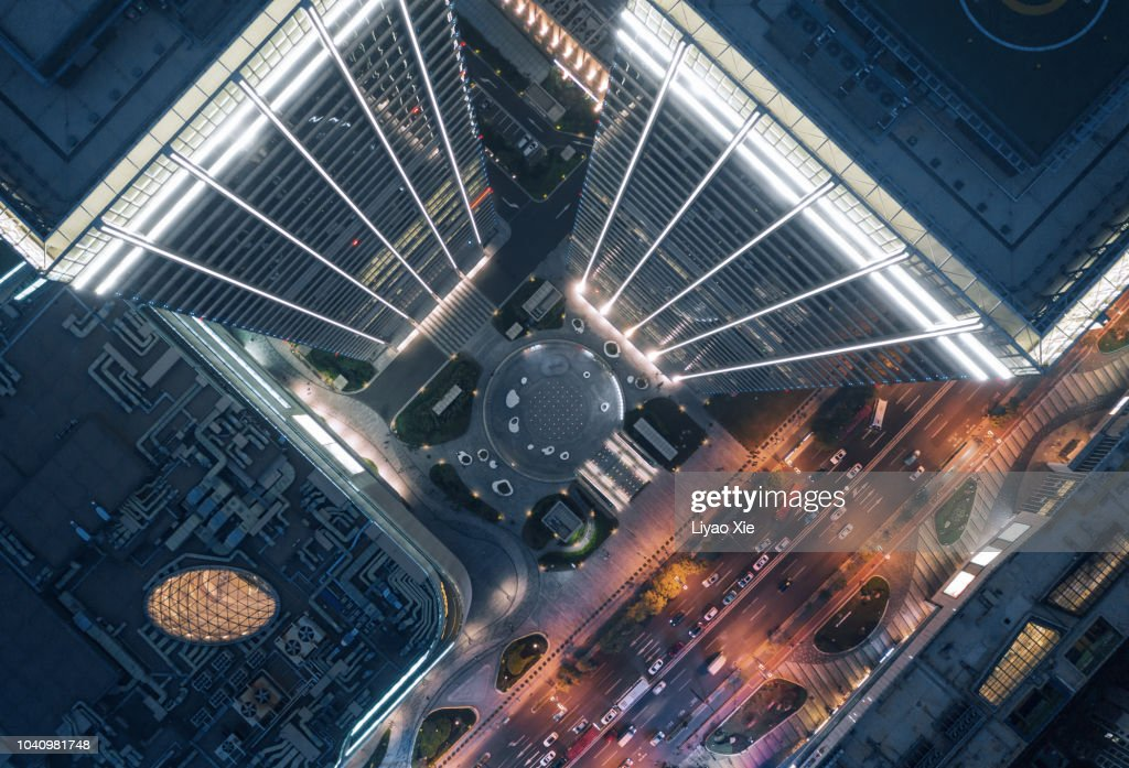 Aerial view of skyscraper : Stock Photo