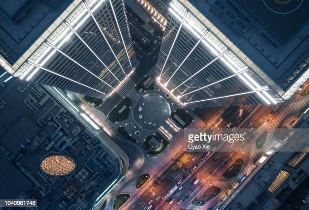 aerial view of skyscraper - skyscraper stock pictures, royalty-free photos & images