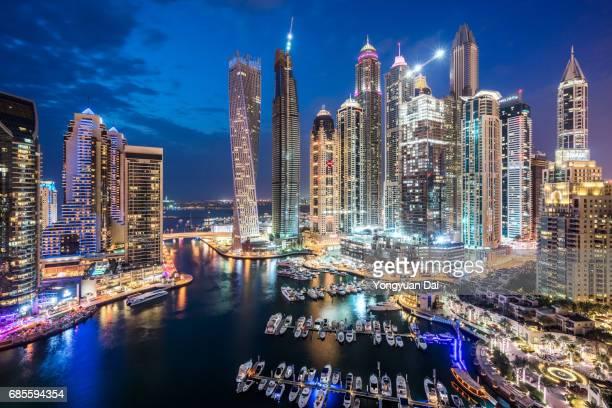 Aerial View of Skyscrapers in Dubai Marina at Night