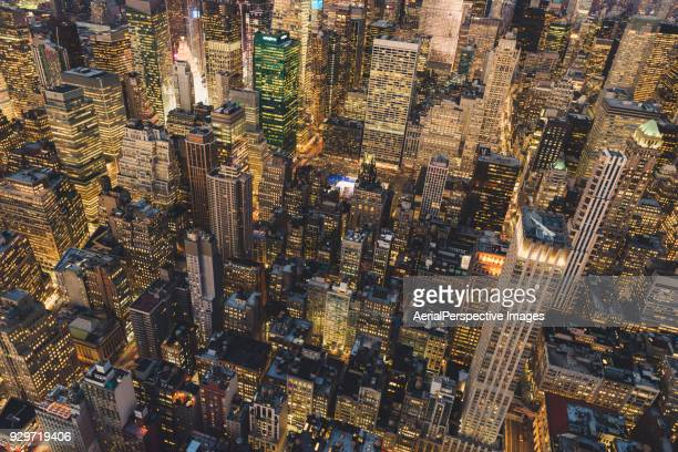 Aerial View of Skyscrapers in Midtown Manhattan, NYC at Dusk