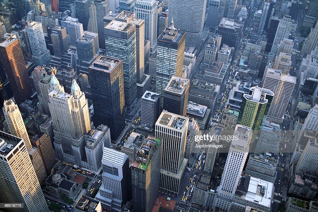 Aerial view of skyscrapers in New York City : Stock Photo