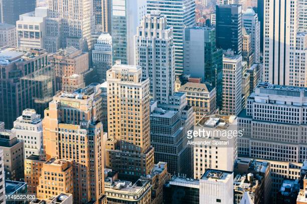 aerial view of skyscrapers in new york city, usa - midtown manhattan stock pictures, royalty-free photos & images