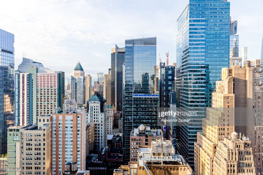Aerial view of skyscrapers in New York City, USA : Photo