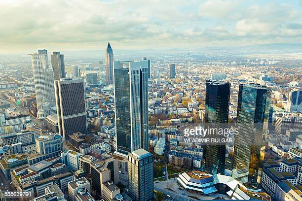 aerial view of skyscrapers - frankfurt main stock pictures, royalty-free photos & images