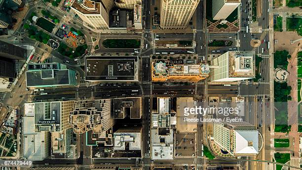 aerial view of skyscrapers - detroit michigan stock-fotos und bilder