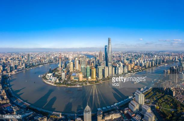 Aerial view of skyscrapers standing at the Pudong Lujiazui Financial District on November 13, 2020 in Shanghai, China.