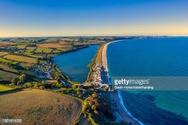 aerial view of slapton sands, devon, england, united kingdom, europe - gavin hellier stock pictures, royalty-free photos & images