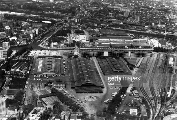 Aerial view of slaughterhouse of la Villette in Paris 60's