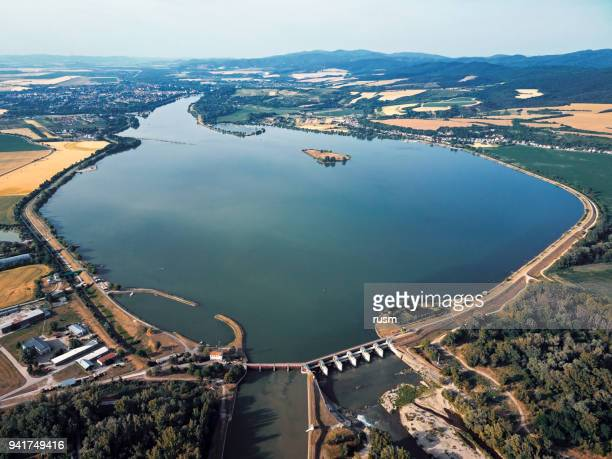 aerial view of slnava lake and piestany town on vag river, slovakia - slovakia stock pictures, royalty-free photos & images