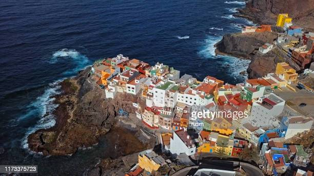 aerial view of small clifftop village la caleta de arriba, gran canaria, canary islands, spain. - grand canary stock pictures, royalty-free photos & images
