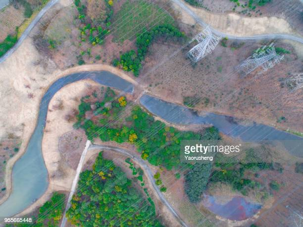 aerial view of small river