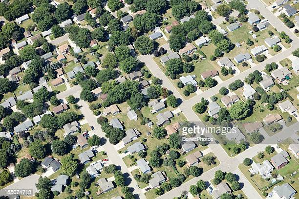 aerial view of small rural city neighborhood - midwest usa stock pictures, royalty-free photos & images