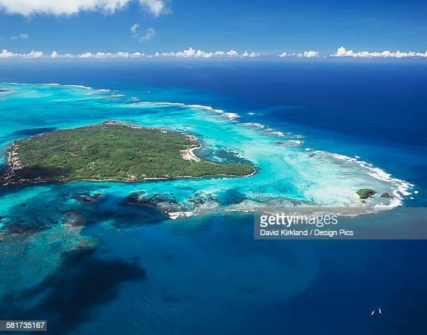 Aerial view of small Samoan island between Upolu and Savaii