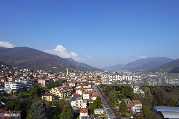 Aerial view of small town in Northern Italy