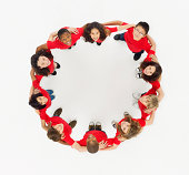 Aerial view of smiling children in a circle