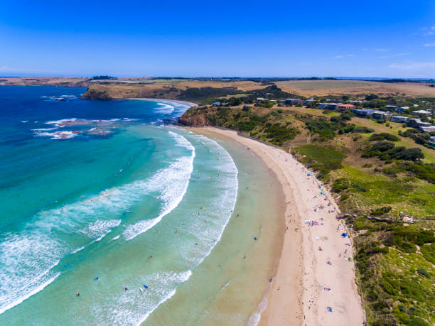 Aerial view of Smiths Beach, a popular spot on Phillip Island