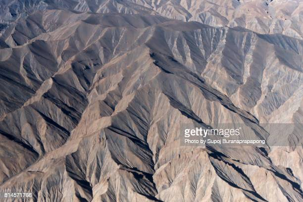 Aerial view of snow capped Himalayas mountains in summer,Lah Ladakh, Jammu and Kashmir region , India