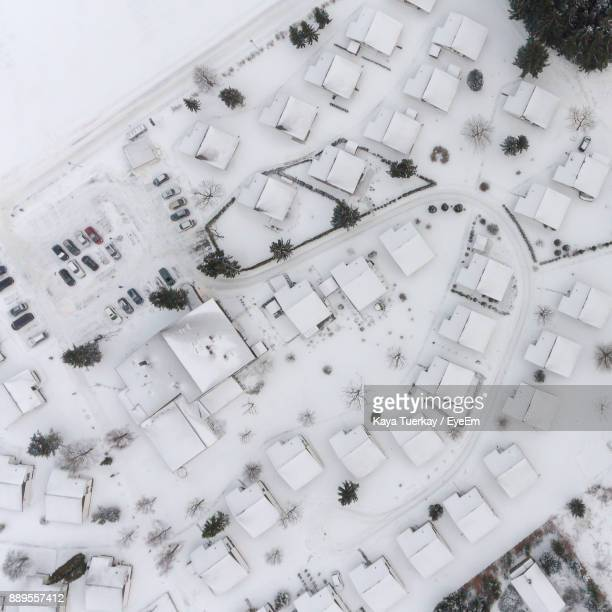 Aerial View Of Snow Covered Houses