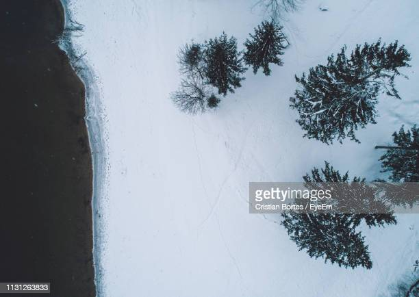 Aerial View Of Snow Covered Land By Lake During Winter