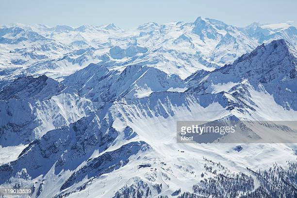 aerial view of snow covered mountains - mont blanc massif stock photos and pictures