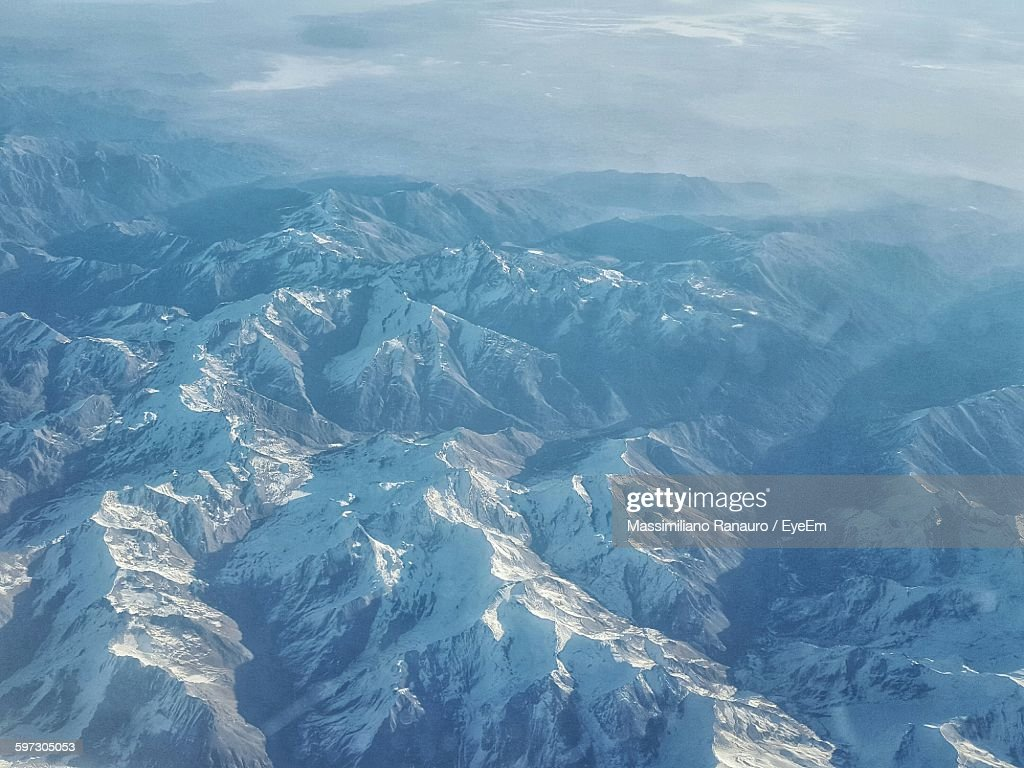 Aerial View Of Snow Covered Mountains : Stock Photo