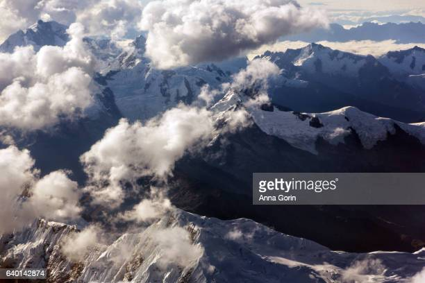 Aerial view of snowcapped mountains in Andes range between Lima and Cusco, Peru